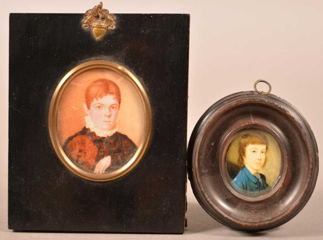 2 Early 19th Century Miniature Portrait Paintings.