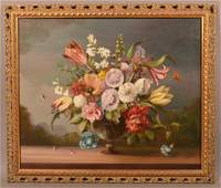 Oil on Canvas Floral Still Life Painting.