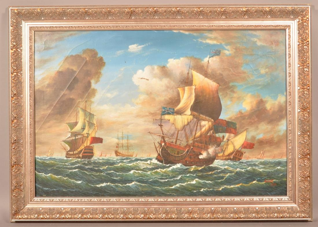 Oil on Canvas Ships at Sea Battle Scene Painting.