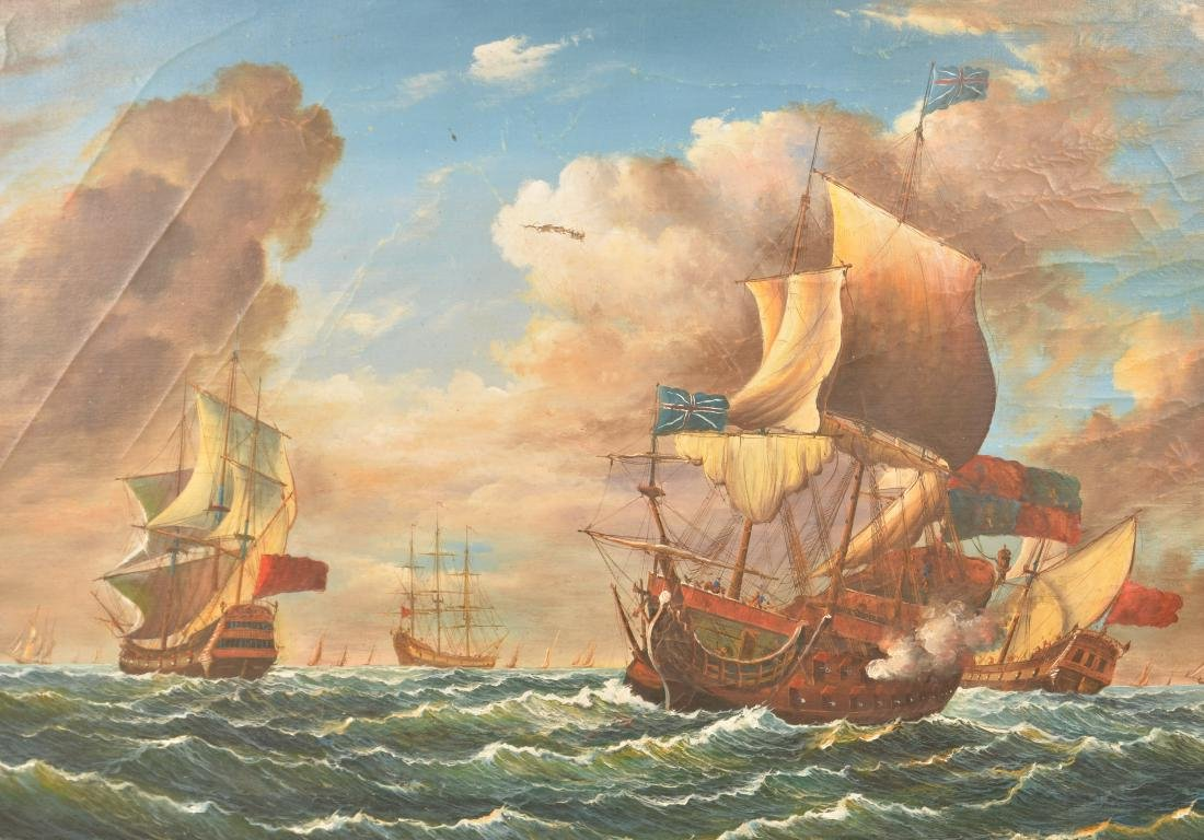 Oil on Canvas Ships at Sea Battle Scene Painting. - 2