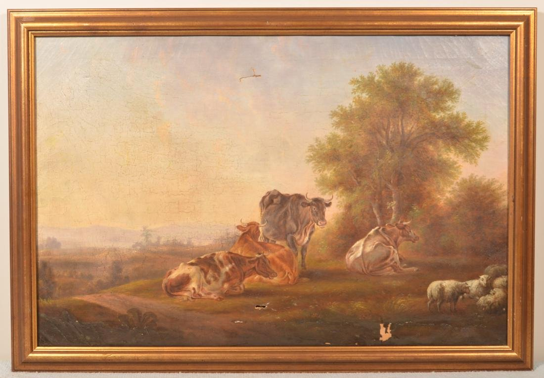 19th Cent. Oil on Canvas Pastoral Scene Painting.