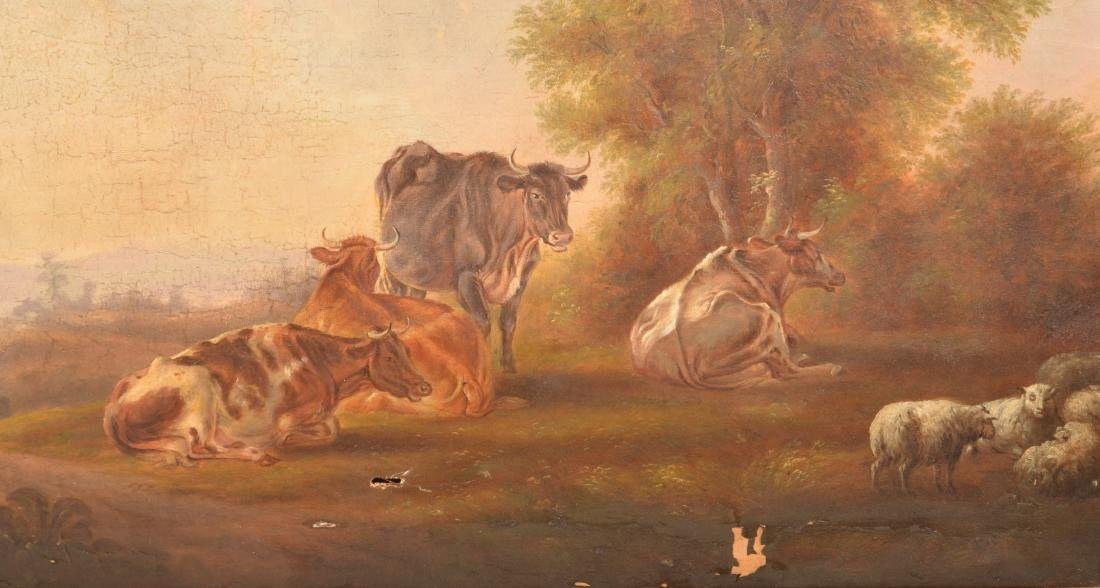 19th Cent. Oil on Canvas Pastoral Scene Painting. - 2