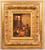 Claus Meyer Oil on Board Interior Scene Painting.