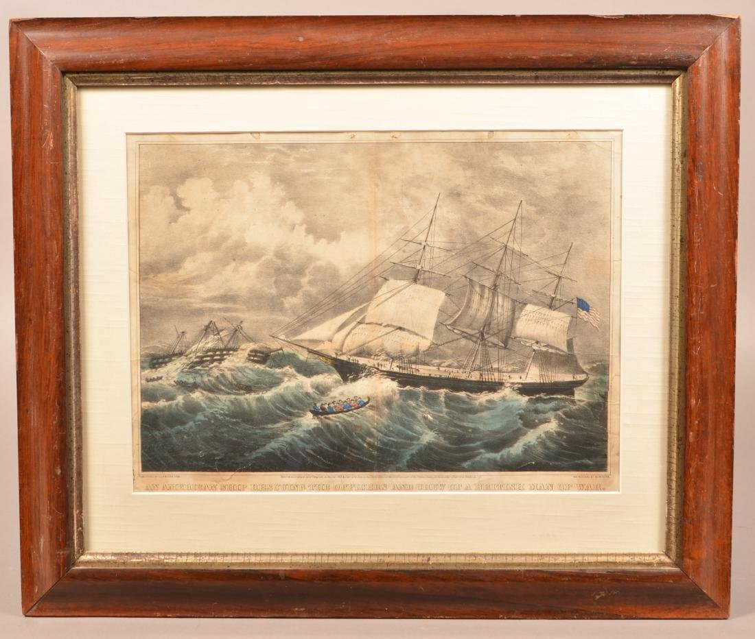 Currier & Ives Hand Colored Marine Lithograph.