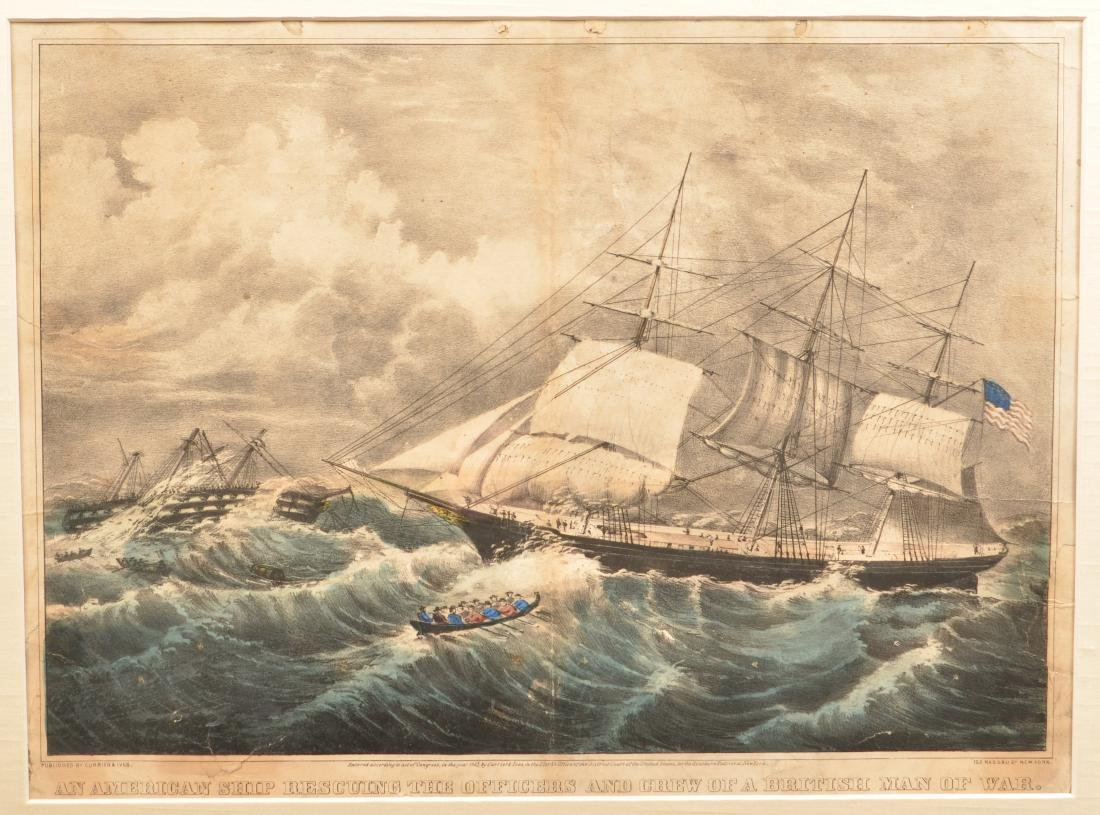 Currier & Ives Hand Colored Marine Lithograph. - 2