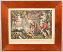 Currier  Ives Hand Colored Camping Lithograph