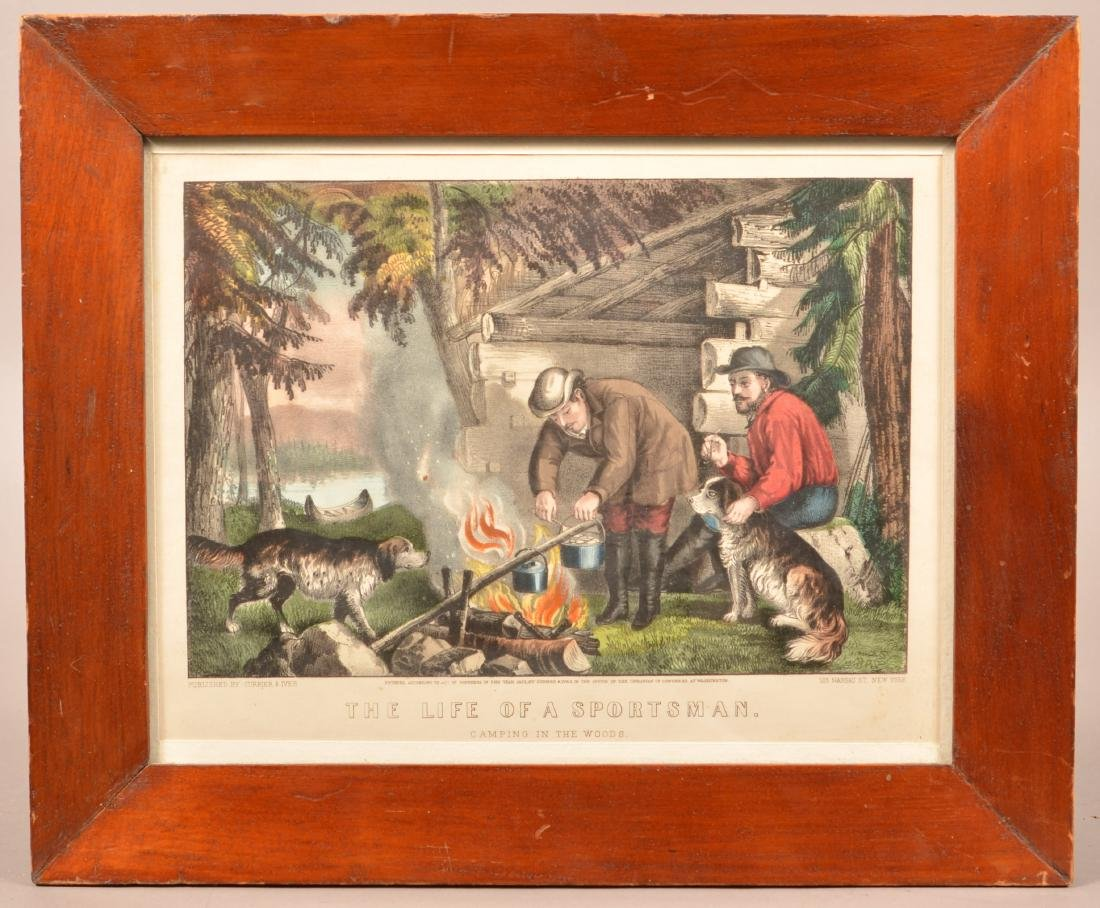 Currier & Ives Hand Colored Camping Lithograph.