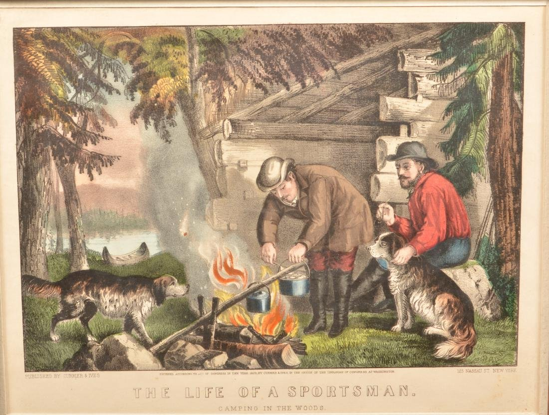 Currier & Ives Hand Colored Camping Lithograph. - 2