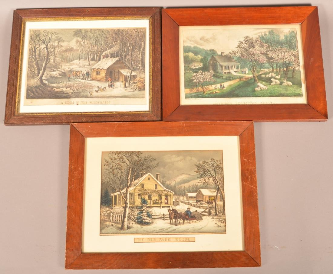 Three Currier and Ives Color Lithographs.