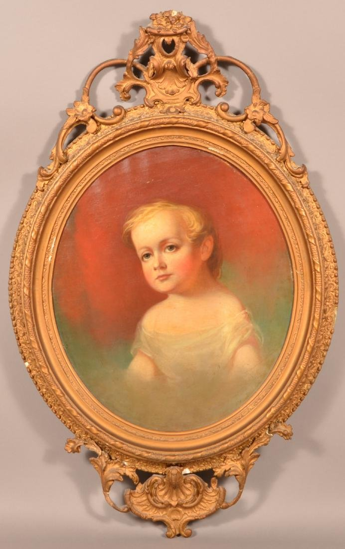 Rare Oil on Canvas Portrait of a young Boy.
