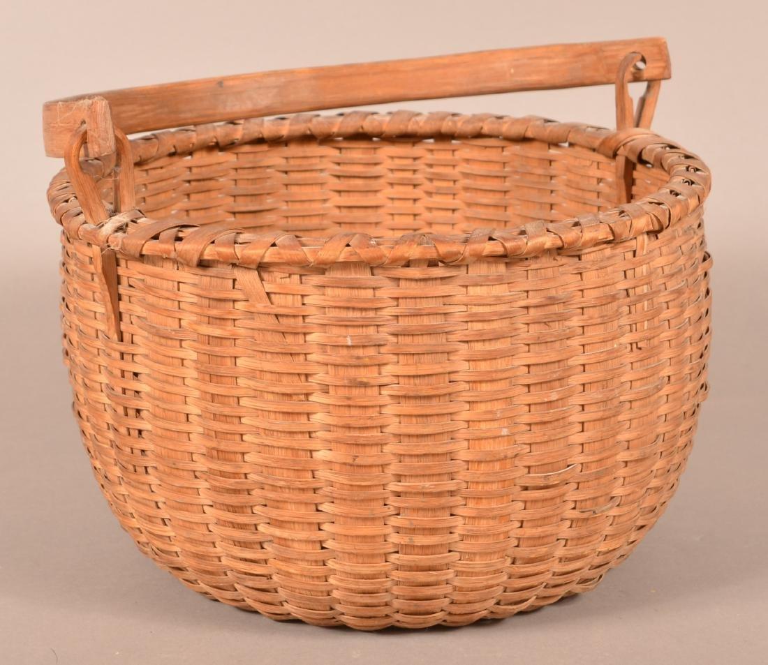 Antique Oak Splint Swing Handle Field Basket.