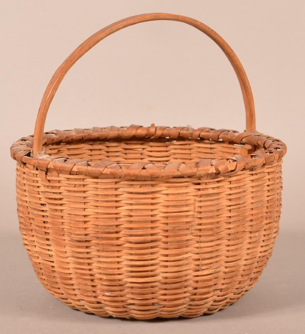 Antique Oak Splint Fixed Handle Field Basket.