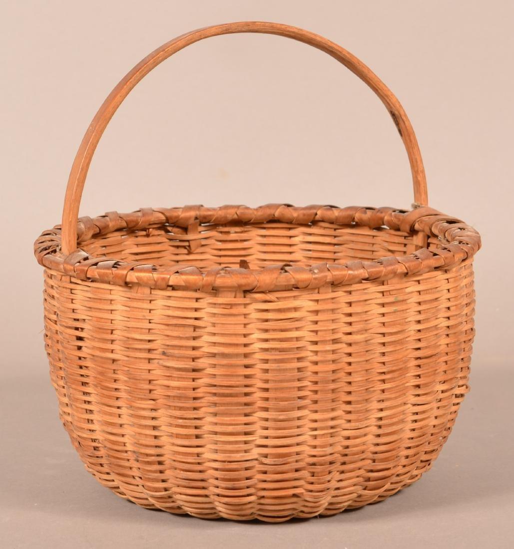 Antique Oak Splint Fixed Handle Field Basket. - 2