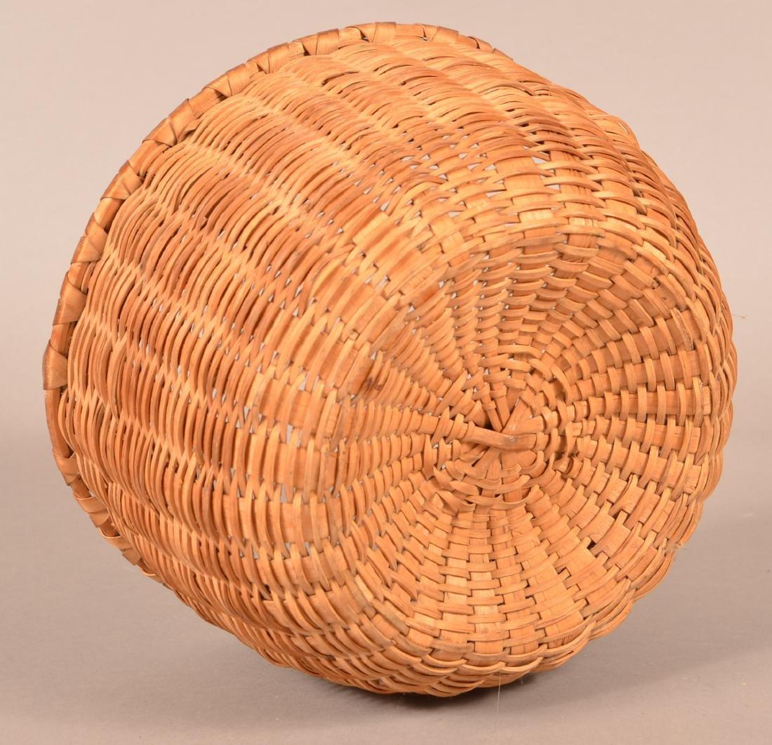 Antique Oak Splint Fixed Handle Field Basket. - 3