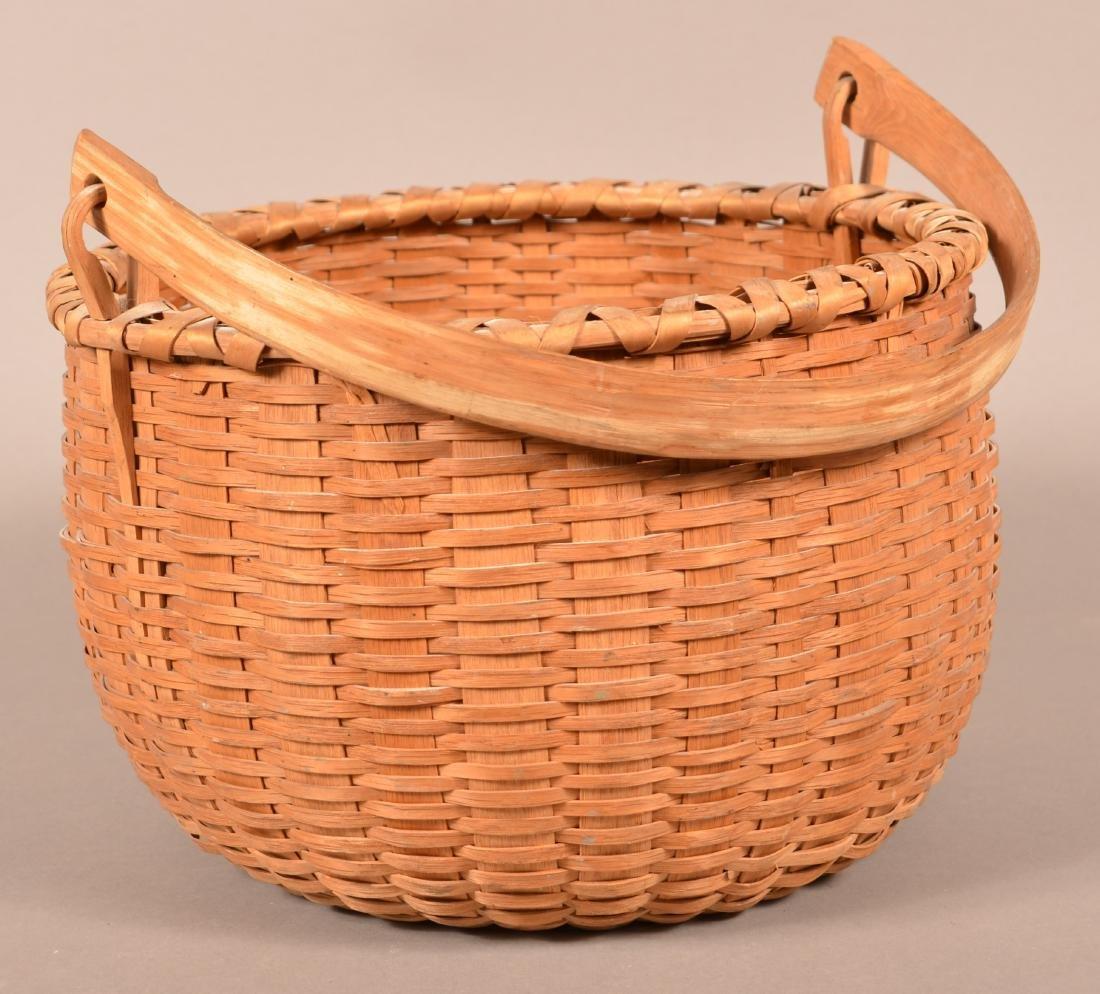 Antique Oak Splint Swing Handle Field Basket. - 2