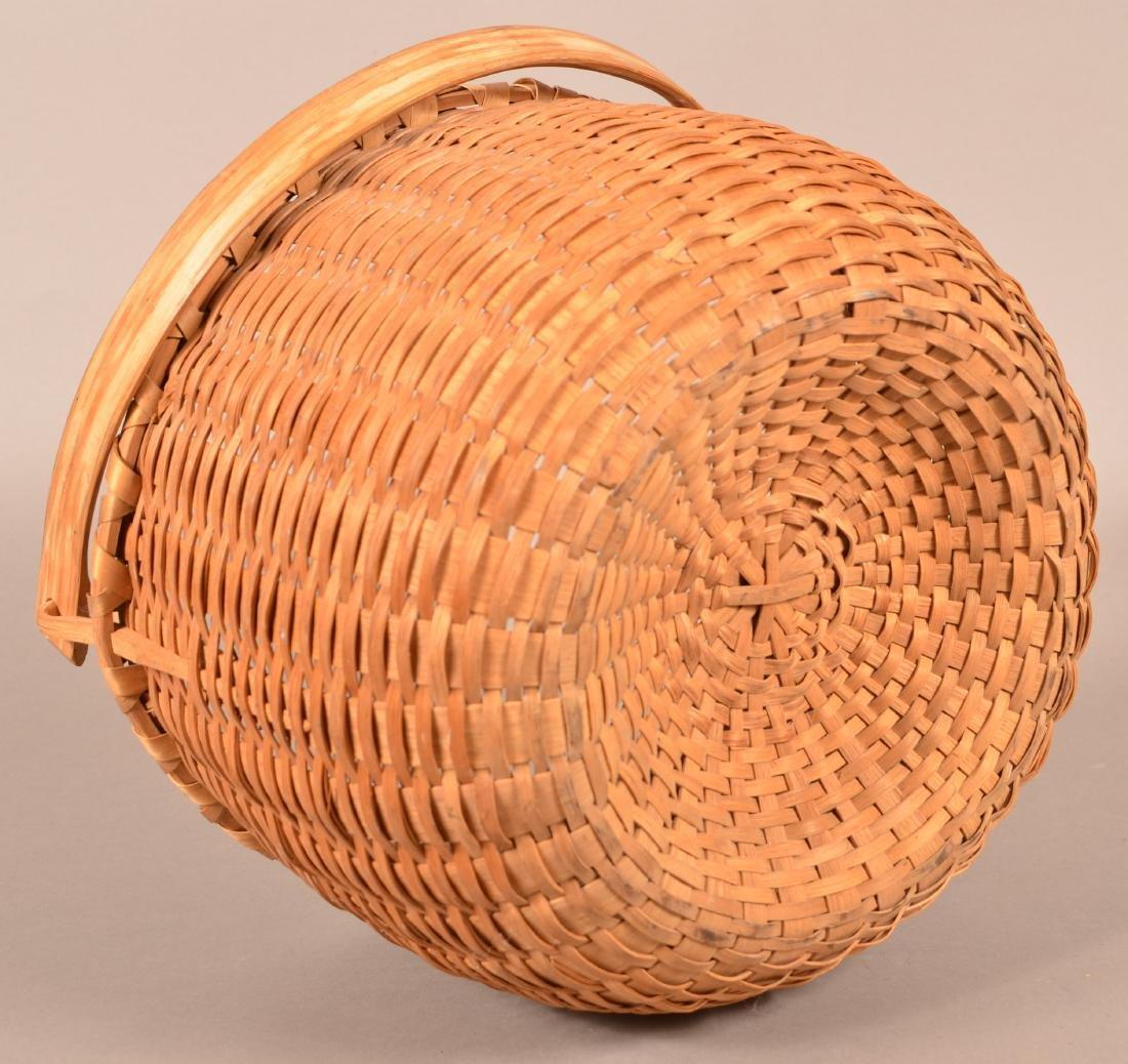 Antique Oak Splint Swing Handle Field Basket. - 3