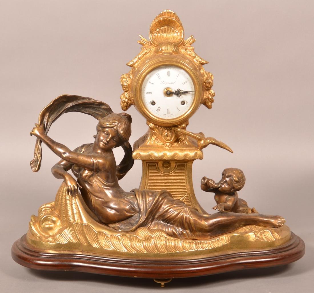 Vintage Brass Figural Shelf Clock.