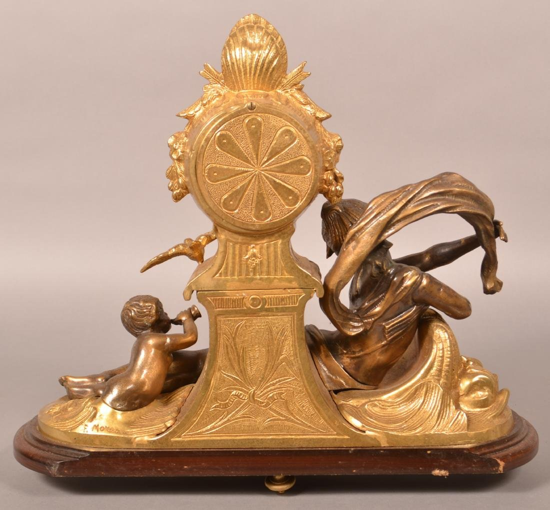 Vintage Brass Figural Shelf Clock. - 3