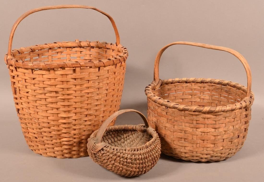 Three Antique Woven Oak Splint Baskets.