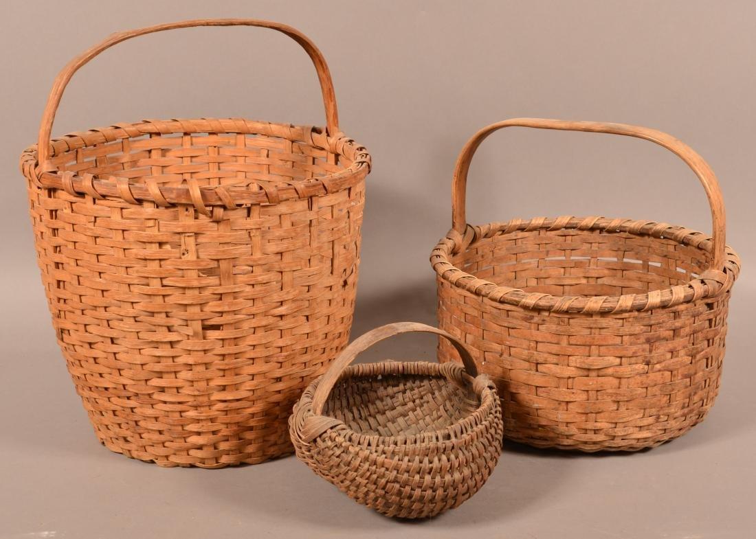 Three Antique Woven Oak Splint Baskets. - 2