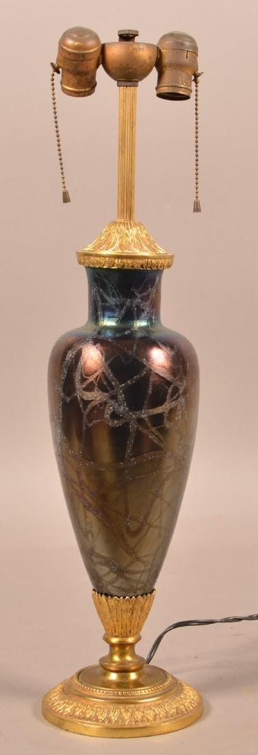 Vintage Iridescent Art Glass Table Lamp.