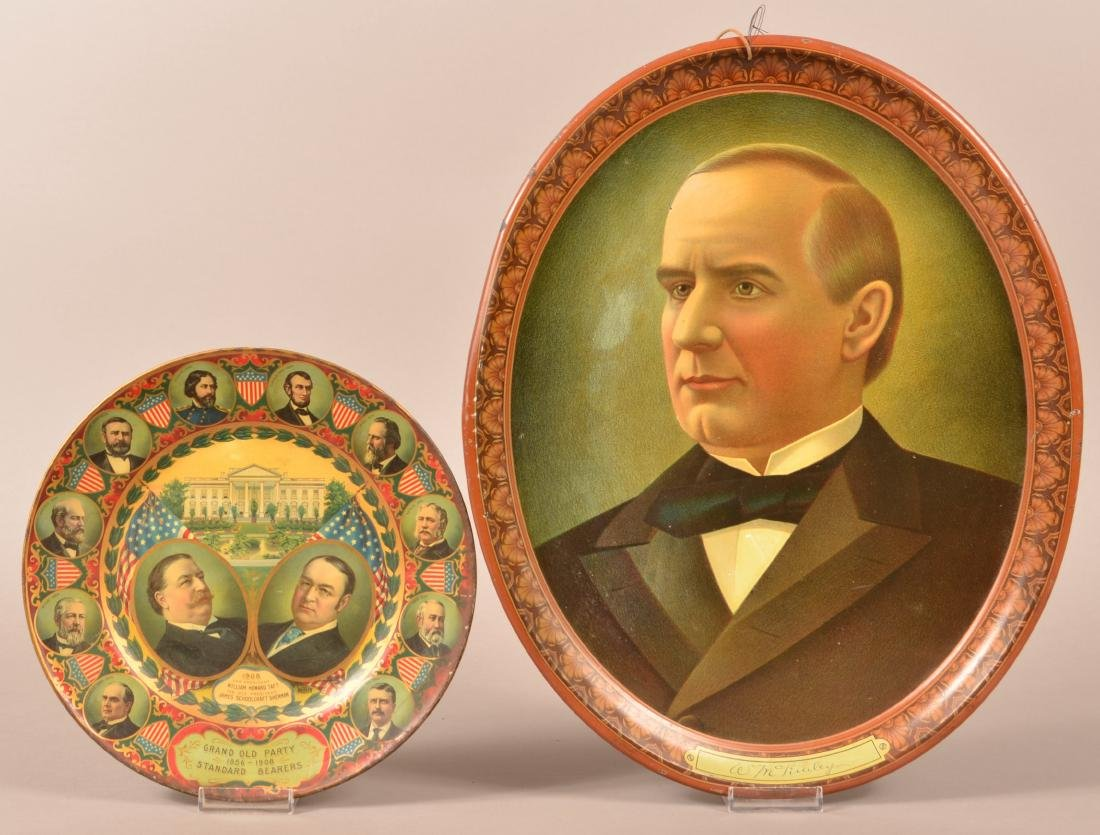 Two Antique Tin Lithograph Political Trays.