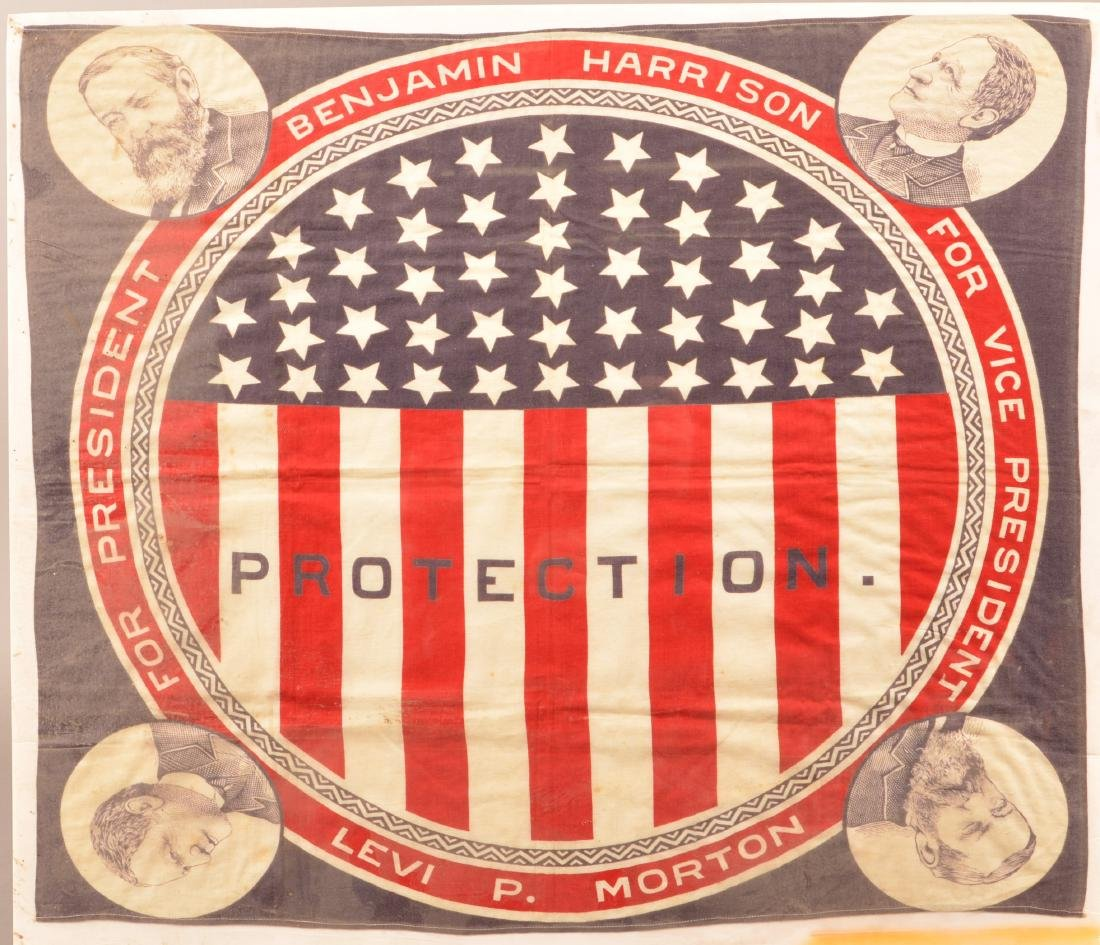 1888 Harrison/Morton Protection Handkerchief.