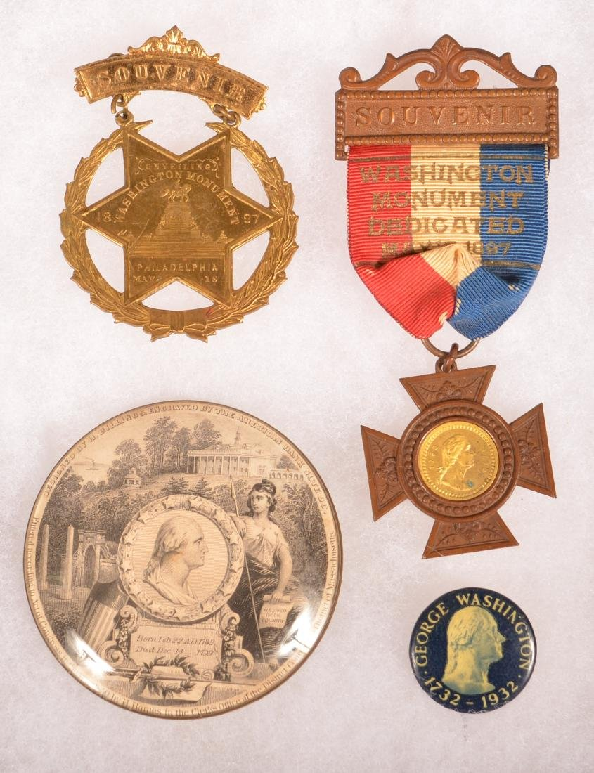 Four Various George Washington Souvenir Pins.