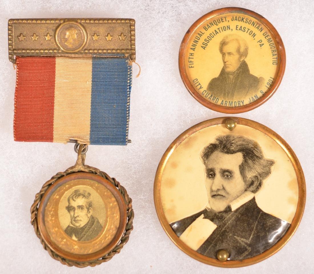Three Various Andrew Jackson Pins/Ribbons.