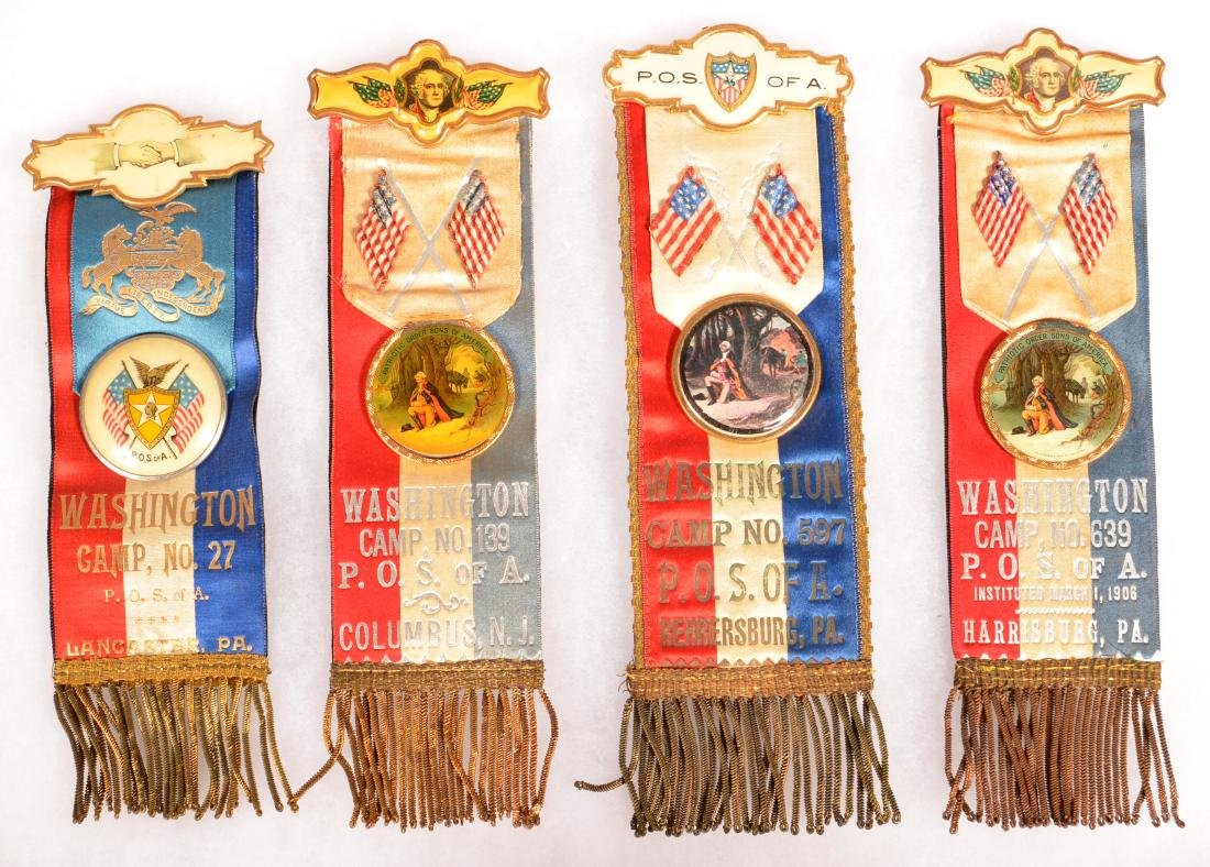 Four Antique P.O.S. of A. Fraternal Ribbons.