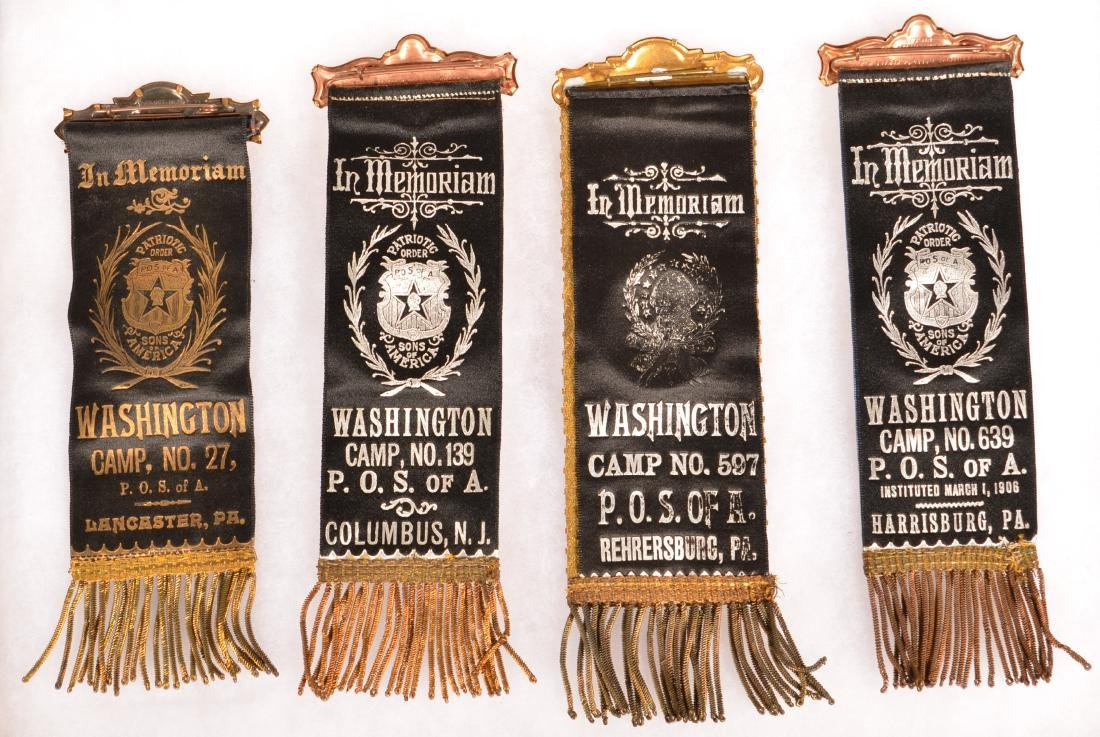 Four Antique P.O.S. of A. Fraternal Ribbons. - 2