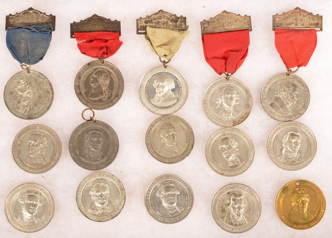 34 Antique/Vintage Drawing Compotistion Medals. - 3