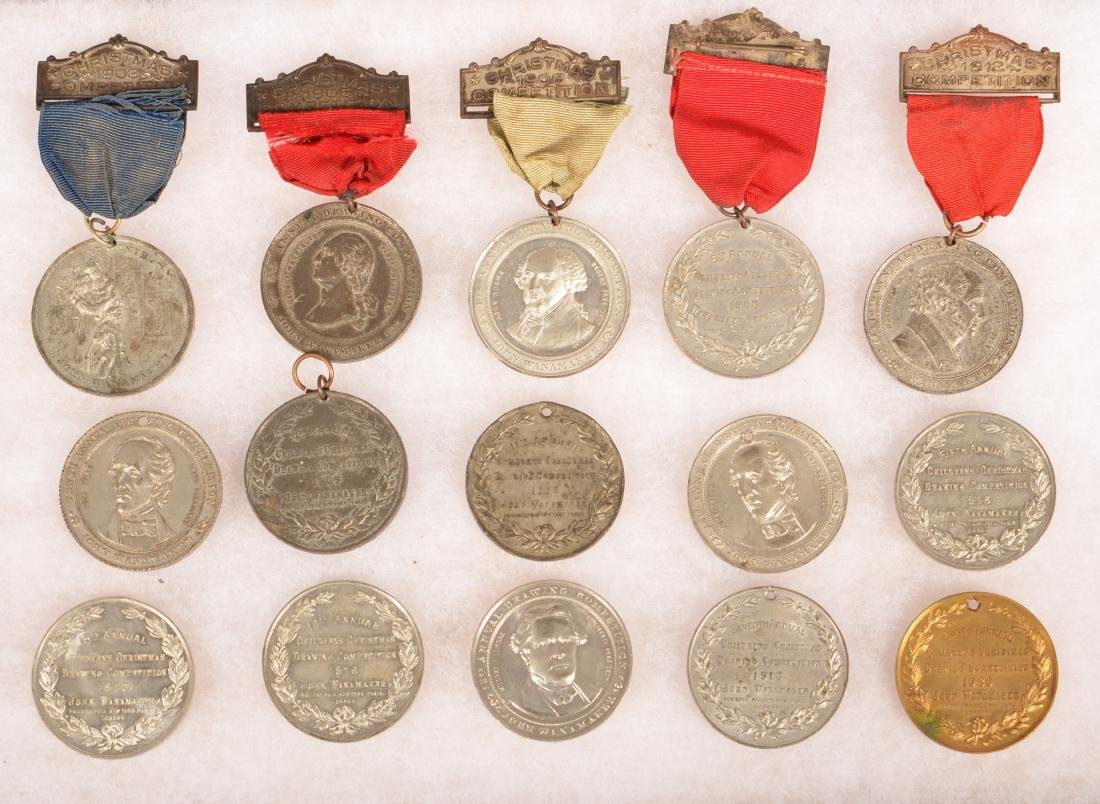 34 Antique/Vintage Drawing Compotistion Medals. - 4