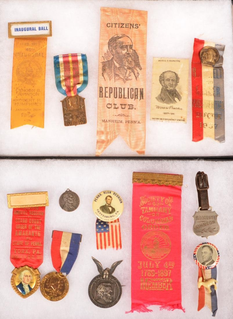 Lot of Various Political ribbons and Medals.