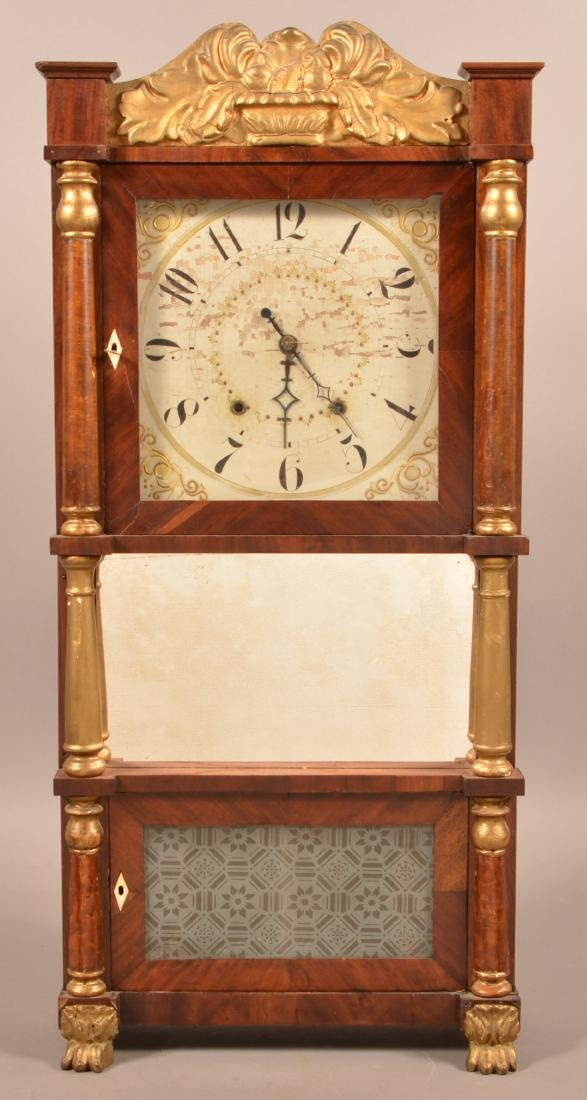 Federal Mahogany Triple Decker Shelf Clock.