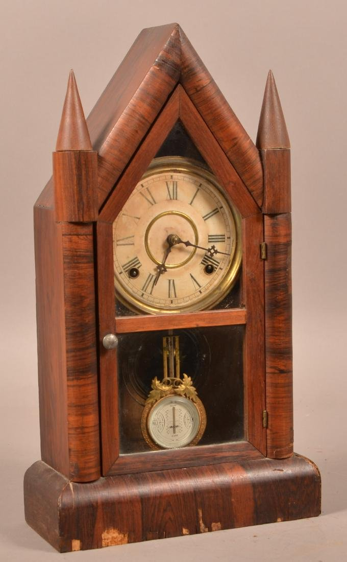 Gilbert Eight Day Rosewood Case Steeple Clock.