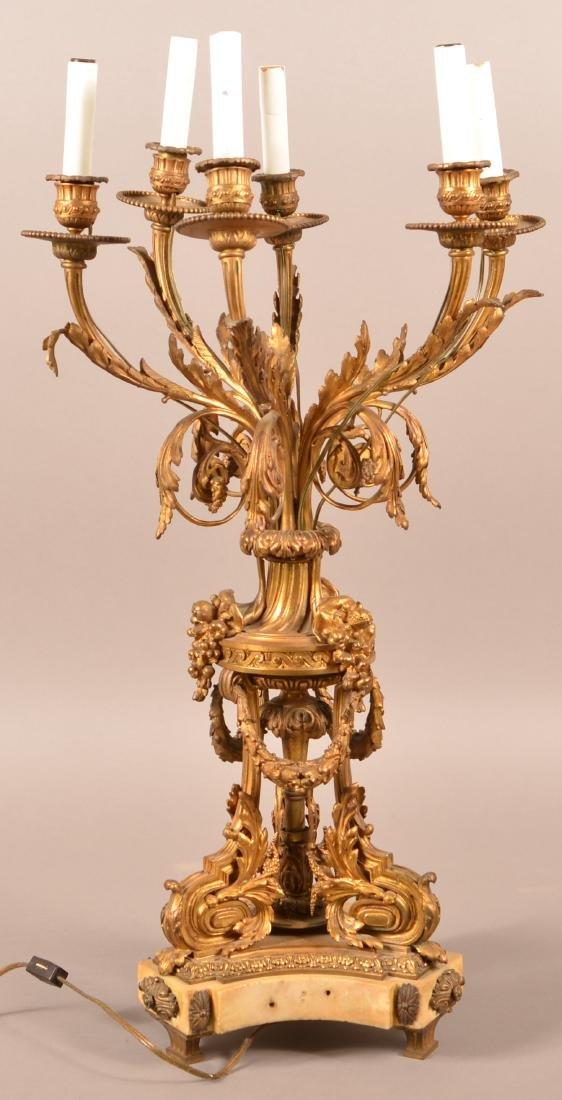 Ornate Gilt Brass Chandelier.