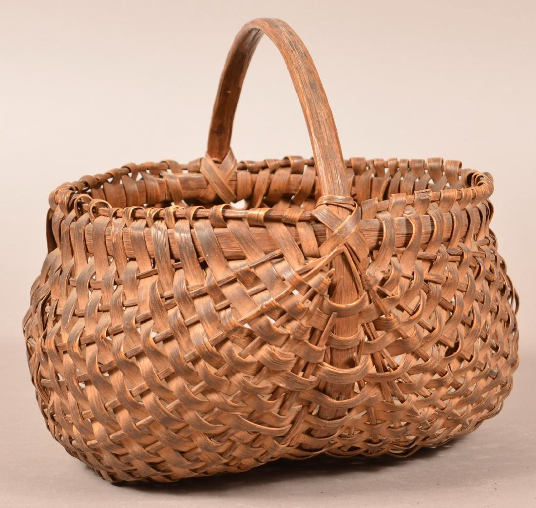 PA 19th Century Woven Oak Splint Basket.
