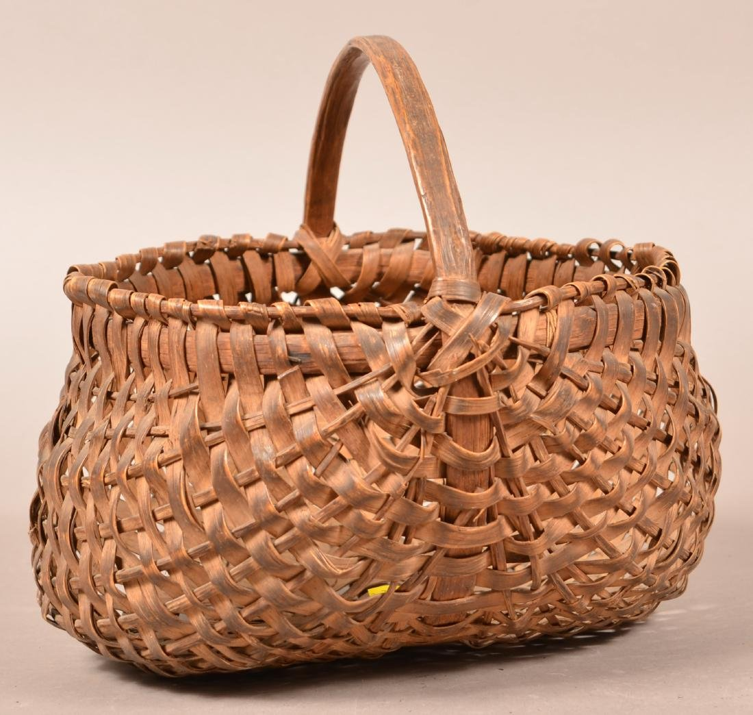 PA 19th Century Woven Oak Splint Basket. - 2