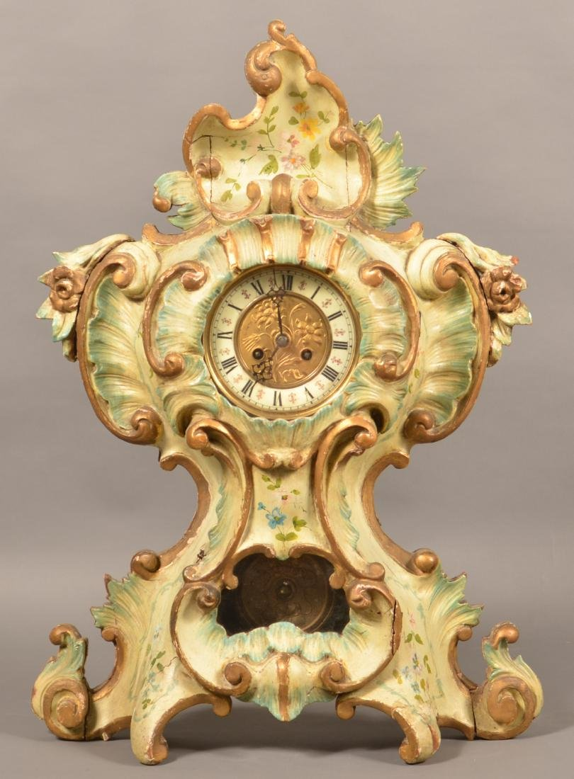 French Carved Wood Cartouche Shelf Clock.