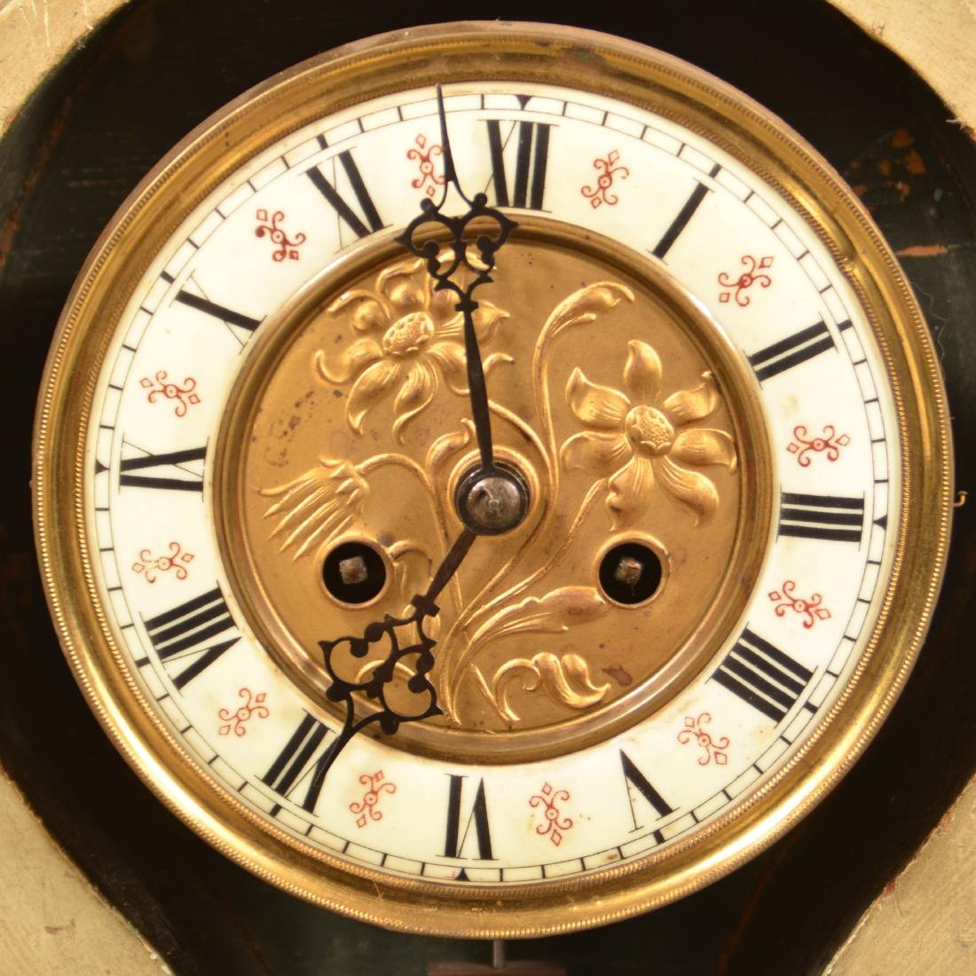 French Carved Wood Cartouche Shelf Clock. - 4
