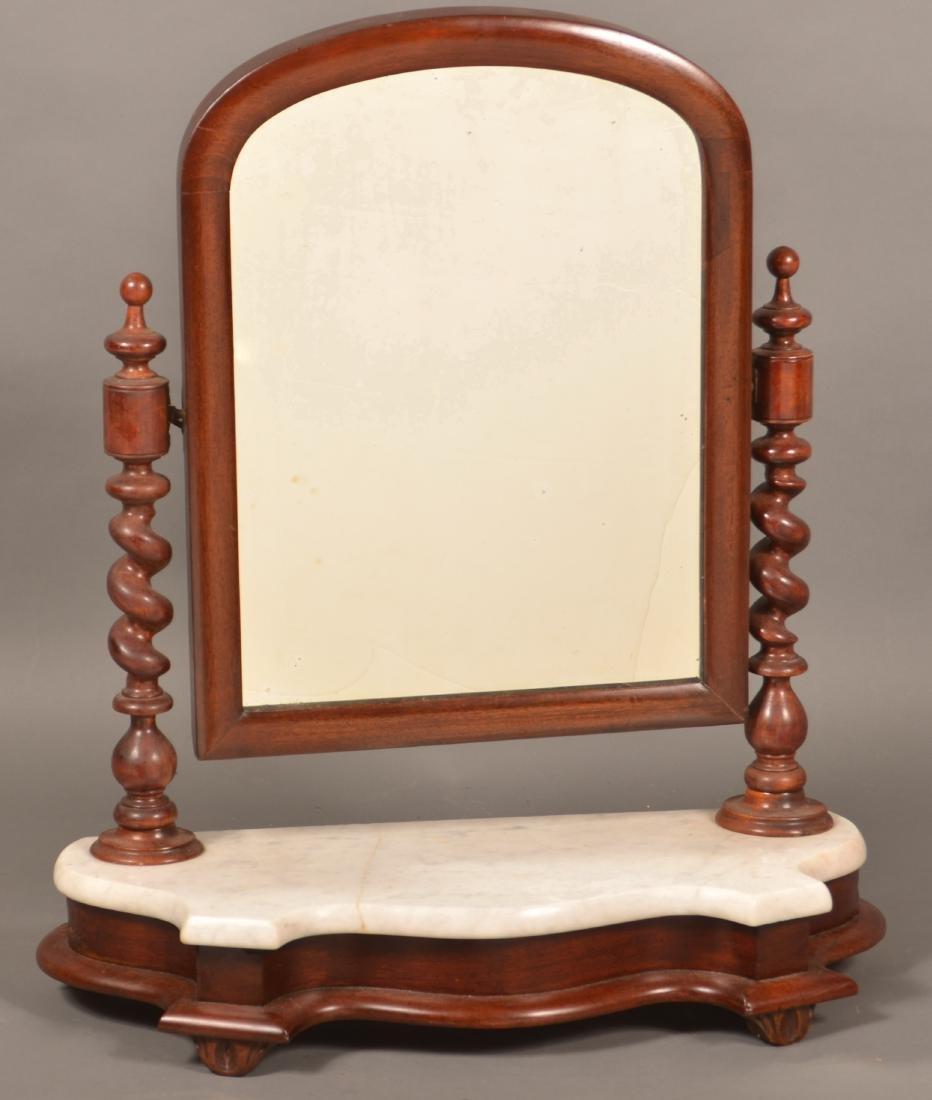 Victorian Mahogany Marble Top Shaving Mirror.