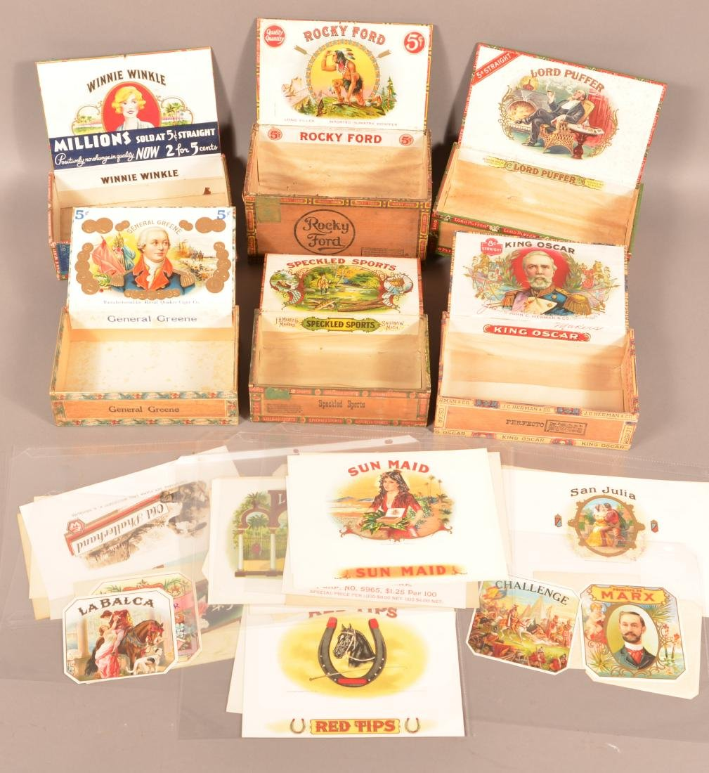 Lot of Six Vintage Cigar Boxes and Labels.