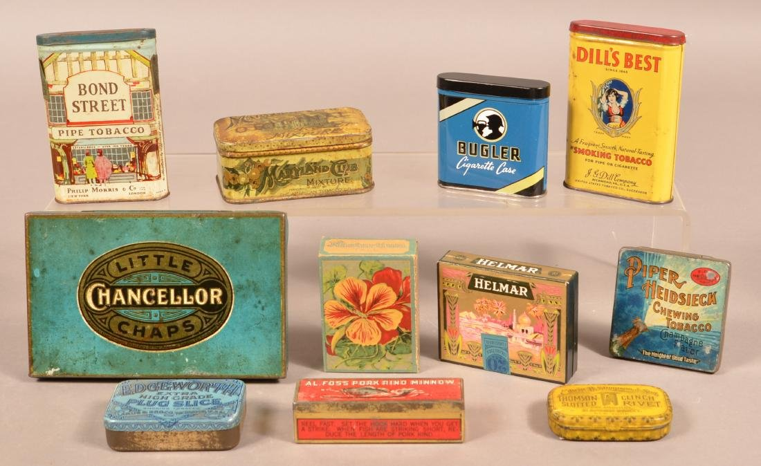 Lot of Various Lithograph Tobacco Tins.