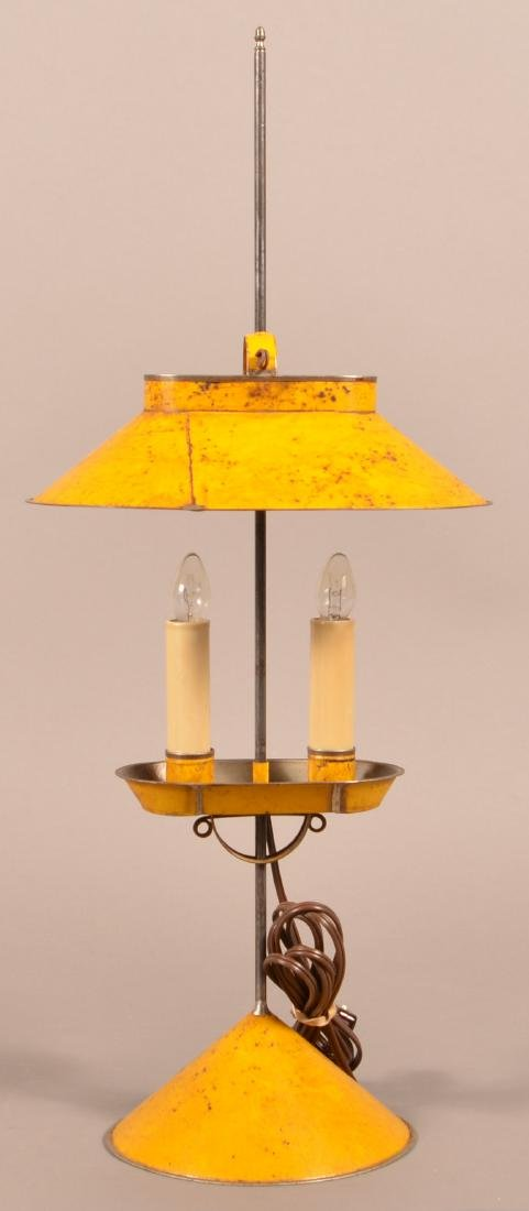 Jerry Martin Mustard Painted Tin Student Lamp.