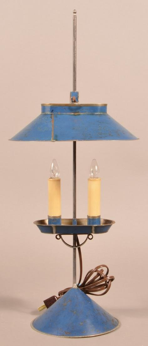 Jerry Martin Blue Painted Tin Student Lamp.