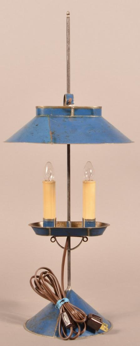 Jerry Martin Blue Painted Tin Student Lamp. - 3