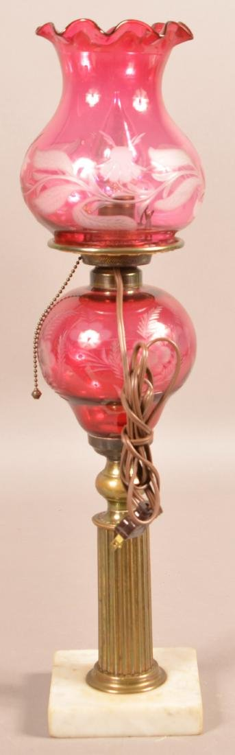 Engraved Cranberry Glass Font Fluid Lamp. - 3