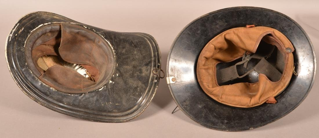 Two Vintage Fireman's Helmets. - 4