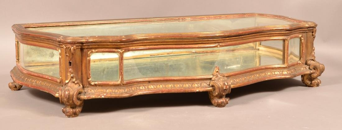 Antique Carved and Gilt Table Top Curio Cabinet.